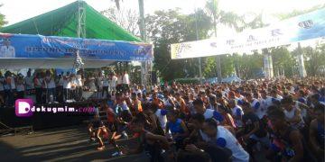 Ribuan peserta bersiap di garis start, Sabtu (5/10/2019).(dodokugmim/nikitasangian)